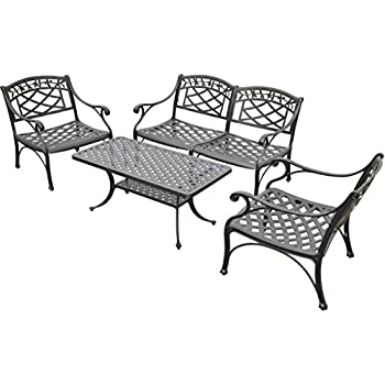 Crosley Furniture Sedona 4 Piece Solid Cast Aluminum Outdoor Conversation  Set With Table,