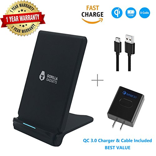 Fast Wireless Charger (with QC 3.0 Adapter), 3 Coils Qi 7.5W Fast Wireless Charging foldable Stand for iPhone X iPhone 8/8+, 10W Fast Qi Charging for Galaxy S9/S9+ Note 8/5 S8/S8+ S7/S7 Edge S6 Edge+ by Gorilla Gadgets