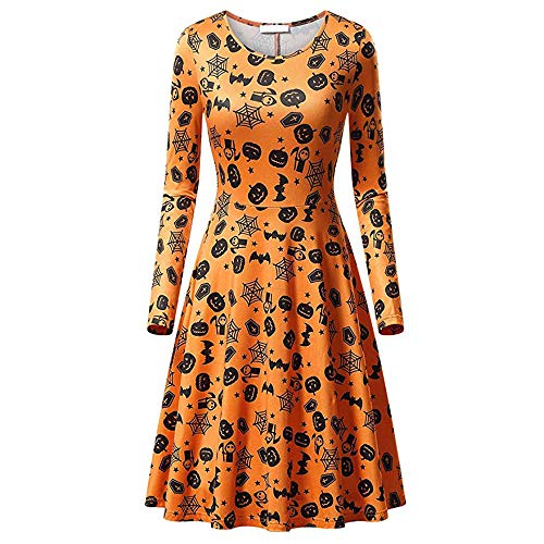 Womens Long Sleeves Casual A-line Halloween Pumpkin Dress Cocktail Dress (XL, A) by Bookear