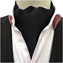 Secdtie Men's Classic Solid Color Silk Cravat Ties Jacquard Woven Evening Ascot