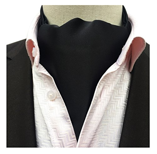 Secdtie Men's Black Silk Tie Woven Ascot Handmade Slim Young Gentlemen Cravat 21 (Silk Ascot)