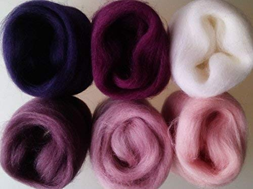 white pink lilac purple 30 g packs 6 colours Orchid set* Wool Tops for Felting