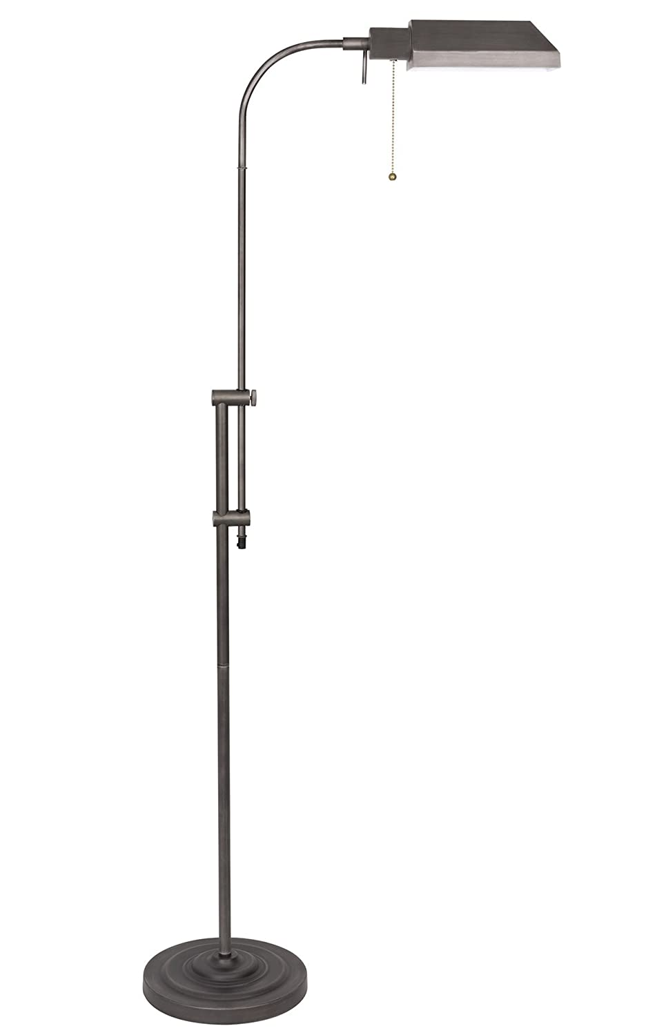 "Kira Home Prescott 58"" Adjustable Standing Pharmacy Floor Lamp, Brushed Pewter Finish, Includes 6W LED Bulb (60W eq.) Energy Efficient, Eco-Friendly"