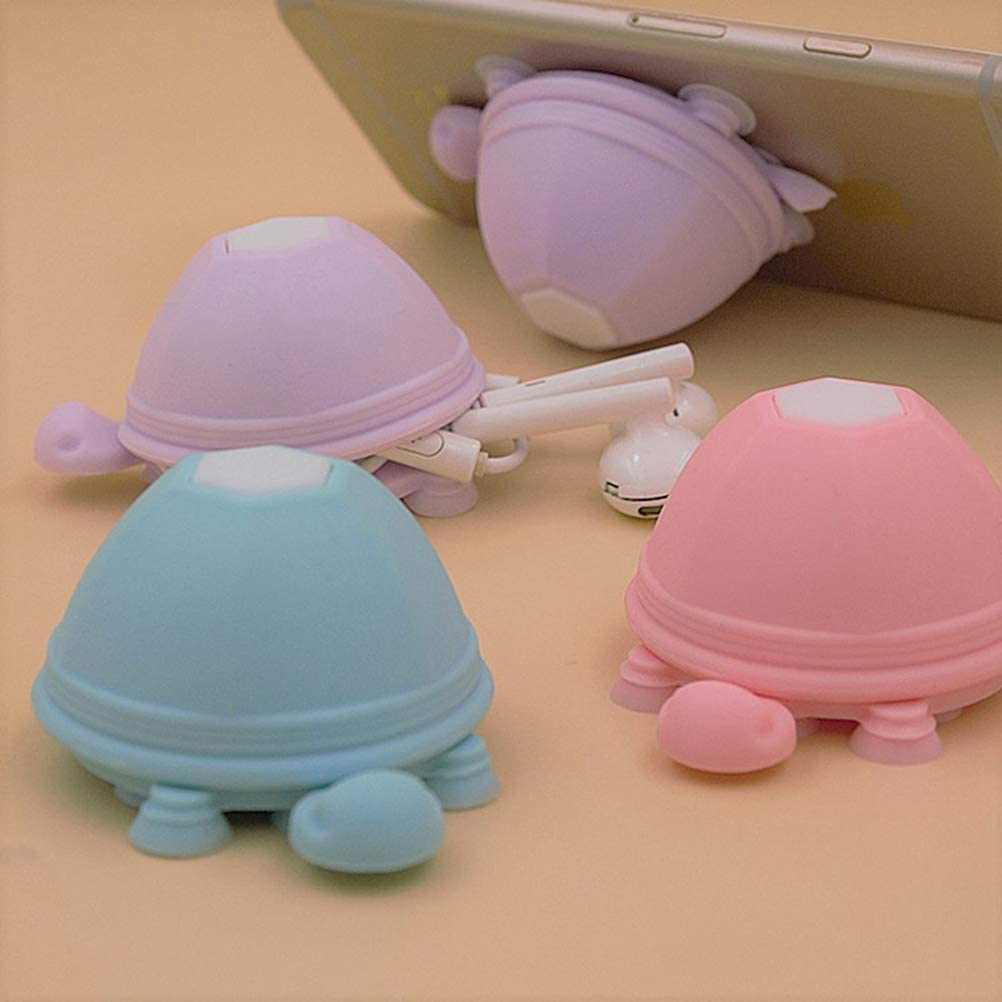 Hemobllo 3 Pcs Turtle Phone Holder Suction Cup Stand Earphone Wrap Cable Headphone Cord Winder Random Color