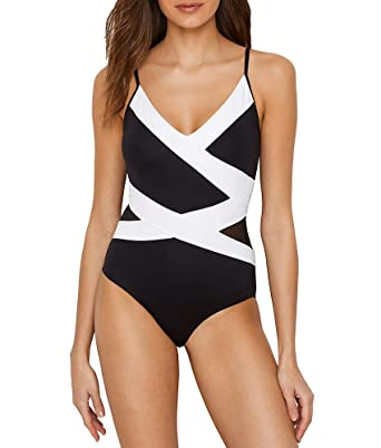 943258e5083 Anne Cole Women's Mesh Spliced Over The Shoulder Sexy One Piece Swimsuit, Color  Block Black