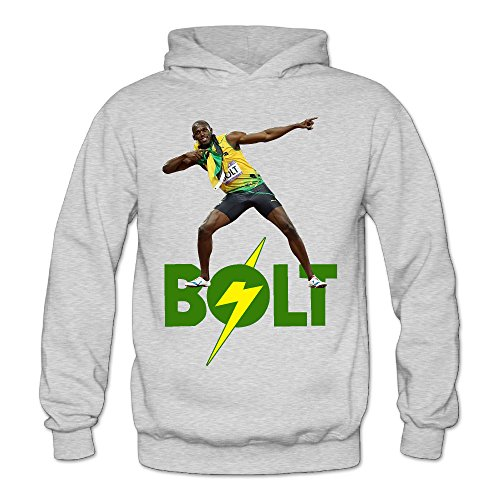 (Caili Women's Usain Bolt Hoodies Sweatshirts L Ash)