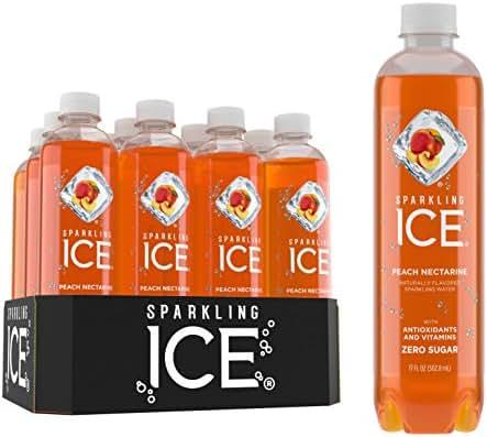 Sparkling Ice FG00054 Peach Nectarine Sparkling Water, with antioxidants and vitamins, Zero Sugar, 17 FL OZ Bottles (Pack of 12)