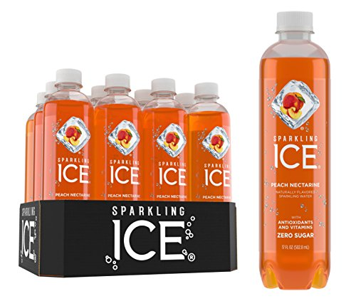 Sparkling Ice Peach Nectarine Sparkling Water, with Antioxidants and Vitamins, Zero Sugar, 17 Ounce Bottles (Pack of 12)