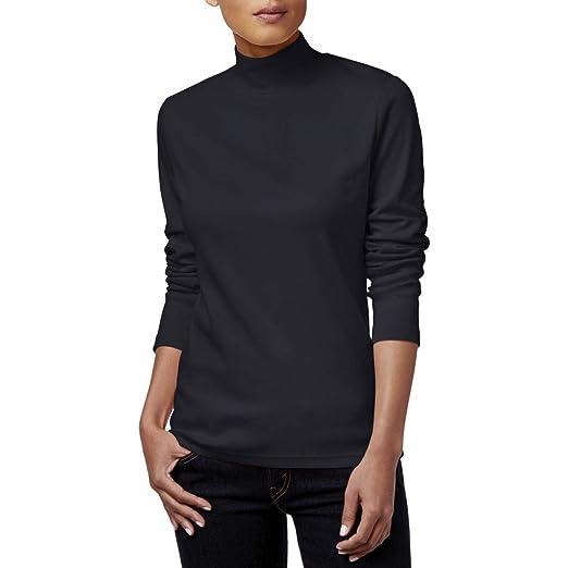 71b58b02f6f63c Amazon.com  Karen Scott Womens Petites Ribbed Mock Turtleneck Pullover  Sweater Black PM  Clothing