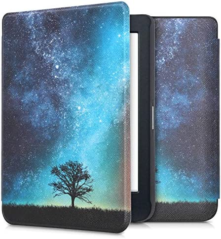 kwmobile Case Compatible with Kobo Nia – PU e-Reader Cover – Cosmic Nature Blue/Grey/Black