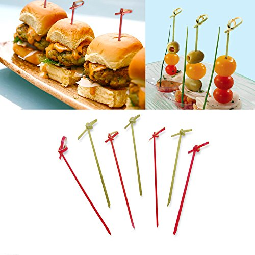 """4.7"""" Bamboo Cocktail Picks With With A Knot includes 300 Assorted Red And Wood Color Decorative Bamboo Knotted Cocktail Skewers"""