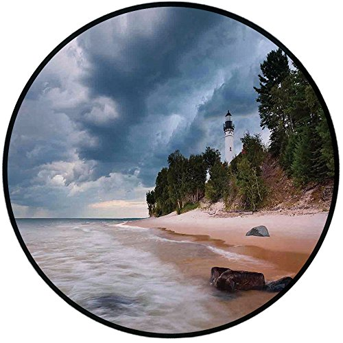 (Printing Round Rug,Lighthouse Decor,Au Sable Lighthouse in Pictured Rock National Lakeshore Michigan USA Mat Non-Slip Soft Entrance Mat Door Floor Rug Area Rug For Chair Living Room,)