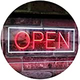 AdvpPro 2C Open Shop Display Rectangle Dual Color LED Neon Sign White & Red 16'' x 12'' st6s43-i2019-wr