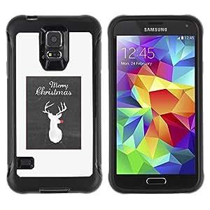 Suave TPU Caso Carcasa de Caucho Funda para Samsung Galaxy S5 SM-G900 / Christmas Raindeer Rudolf Grey / STRONG
