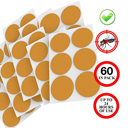 Natural Mosquito Repellent Patches, Deet-Free, for Kids and Adults, with Pure Essential Oils, Non-Toxic, Hypoallergenic and Long Lasting Bug Protection, 60 Stickers