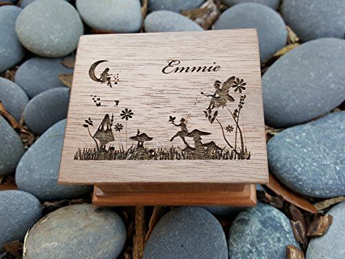 Personalized wooden music box with a fairy garden engraved on the top along with a name, perfect gift for birthdays, baby sisters or christmas, custom made