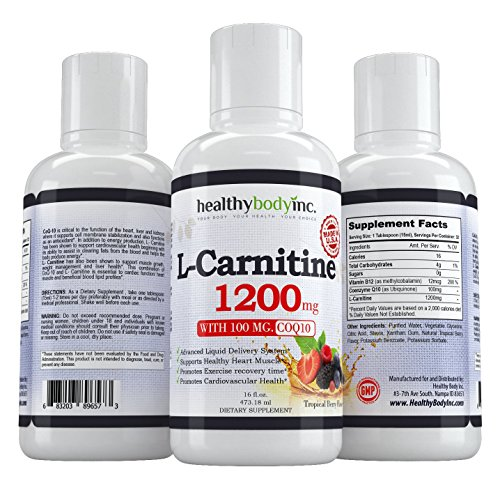 L Carnitine 1200mg L Carnitine Liquid for best absorption and results Also has 100 mg. of Coq10 and B12