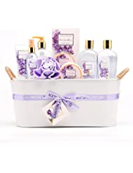 Green Canyon Spa Luxury Lavender Gift Basket Set with Sunflower Seed Oil and Vitamin E, 11-Piece Premium Bath and Body Spa Lavender Gift Set with Natural Lavender Essential Oils (Lavender_Tin)