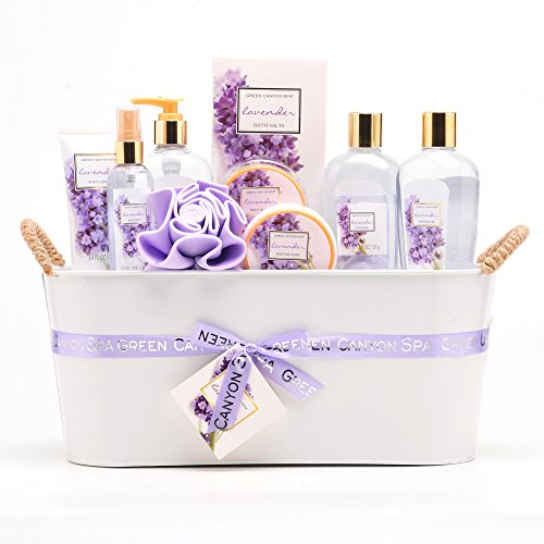 Green Canyon Spa Luxury Lavender Gift Basket Set with Sunflower Seed Oil and Vitamin E, 11-Piece Premium Bath and Body Spa Lavender Gift Set with Natural Lavender Essential Oils (Lavender_Tin) (Gift Spa Lavender Basket Relaxing)