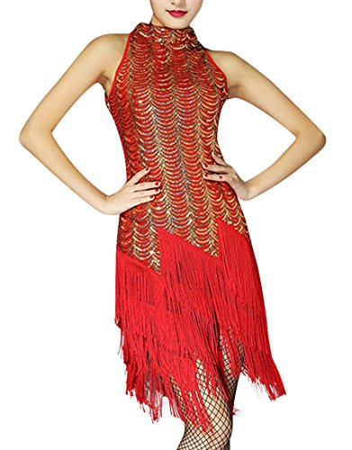 JudyBridal Women's 1920s Sequins Tassel Cocktail Flapper Dress S Red-Gold