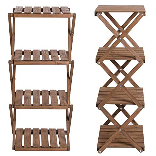 Sunnyglade 4-Tier Foldable Flower Rack Plant Stand Wood Shelf Multipurpose Utility Storage Rack Books Picture Frames Shelves for Yard Garden Patio Balcony Bedroom by Sunnyglade (Image #1)