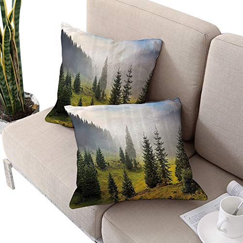 Michaeal Farm House Decor Square Chaise Lounge Cushion Cover,Fir Trees on Meadow Between Hillsides with Conifer Forest in Fog Before Sunrise White Green Cushion Cases Pillowcases for Sofa Bedroom Car ()