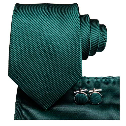 Dubulle Mens Hunter Green Tie and Pocket Square Woven Silk Necktie Set with Cufflinks