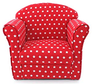 Kids childrens red with white stars fabric tub chair for Childrens armchair and footstool