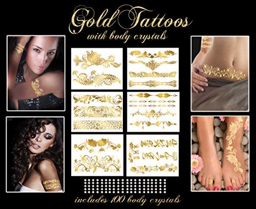 Or métallique Tatouages Collection Bracelet avec 100 presse le corps Crystals-
