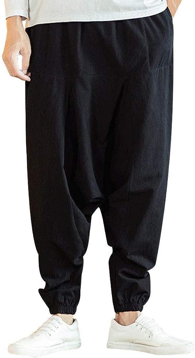 Hurrg Mens Linen Classic Drawstring Elastic Waist Harem Long Pants