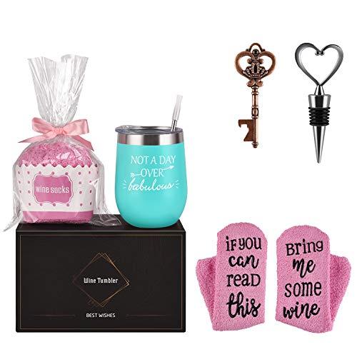 Wine Tumbler Cupcake Wine Socks Gift Set, Birthday Christmas Gift for Girlfriend Lover Women Girl, Not a Day Over Fabulous 12Oz Stainless Steel Tumbler, Socks, Bottle Opener, Wine Stopper,Mint
