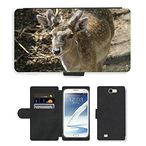 (Just Phone Cases Flip PU Leather Wallet Case with Credit Card Slots // M00129159 Fallow Deer Male Animal Animal World // Samsung Galaxy Note 2 II N7100)