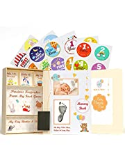 Pearly Tale Baby Memory Book Kit – 73 Page Baby Journal with Baby Album Pages, Keepsake Box, Handprint Kit and Baby Milestone Stickers. Gender Neutral Baby Shower Gifts (And Same Gender Parents)