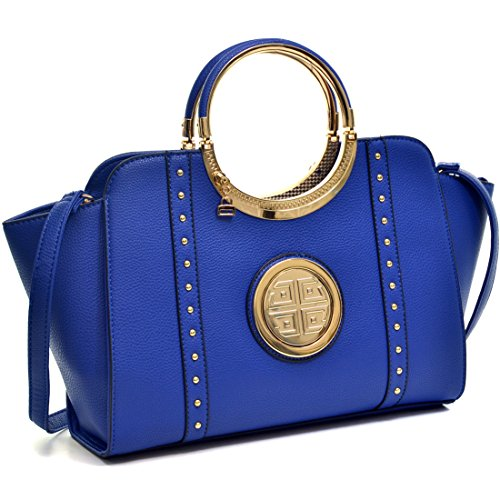 Dasein Women's Studded Top Ring Handle Wing Tote Satchel Bag Purse with Shoulder Strap 3186 Blue