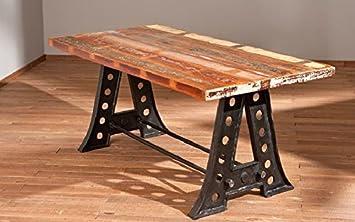 Amazonde Furnitfuture Vintage Esstisch Holz Große Holz Industrie