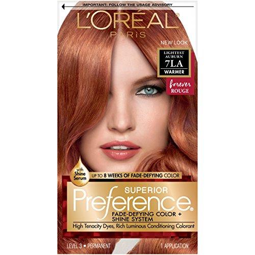 L'Oréal Paris Superior Preference Fade-Defying + Shine Permanent Hair Color, 7LA Lightest Auburn, 1 kit Hair Dye