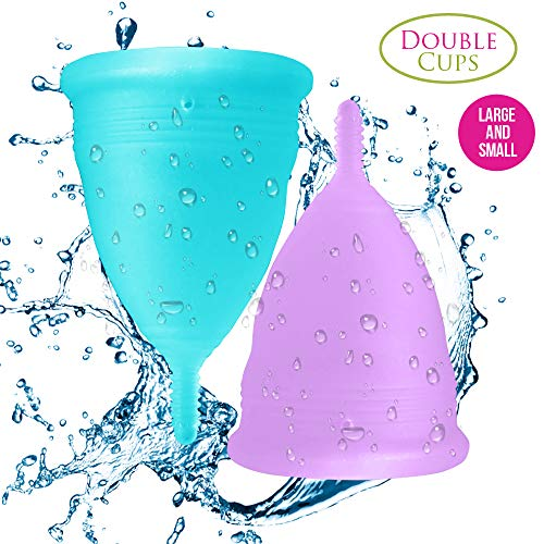 Menstrual Diva Cup (Blossom Menstrual Cups Set of 2 Cups (Sm Blue & Lg Purple))