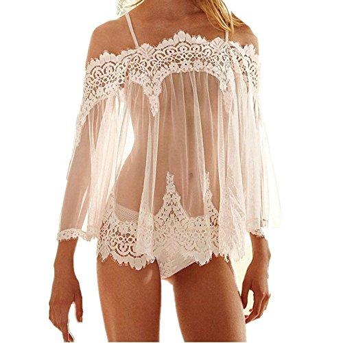 564d3b1ebbc Tloowy Womens Sexy Lace Lingerie Sheer Babydoll Sleepwear Chemise Ruffle  Nightwear Sleepwear G-string Set - Buy Online in Oman.
