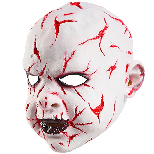 Mo Fang Gong She Halloween Death Zombie Scary Clown Cosplay Props Bloody Boy Child's Play Masks]()