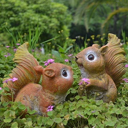 Winpavo Escultura Figuras Estatuas Decoracion Jardín Decoración Jardín Ornamento Jardín Jardín Paisajismo Resina Ardilla Animales Adornos: Amazon.es: Hogar