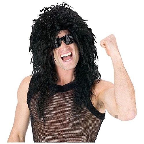 Glam Rock Star Costume (Head Banger Wig Adult 80's Rock Star Glam Rocker Halloween Costume Acsry)