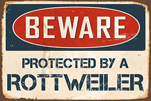 "StickerPirate Beware Protected A Rottweiler 8"" x 12"" Vintage Aluminum Retro Metal Sign (Rottweiler Metal)"