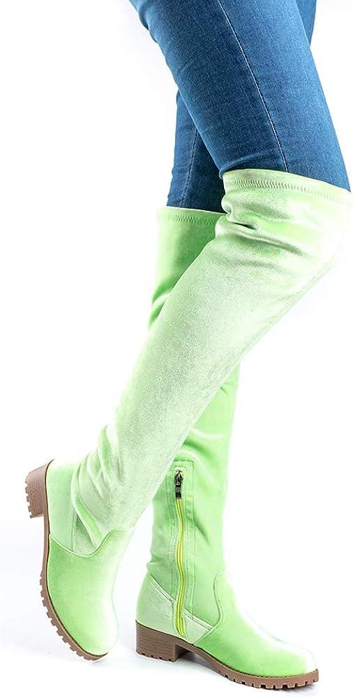 Botte Hautes Femme Botte Cuissarde Cuir PU Daim Talon Bloc 4CM Causal Zipp/ées Hiver Automne Longue Boots Confortable Botte Equitation Noir Gris Brun Rose Vert Rouge Bleu Beige 35-43 EU