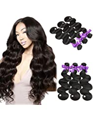 Alipop 10A Brazilian Virgin Hair Body Wave 3 Bundles 100% Unprocessed Virgin Human Hair Bundles Brazilian Hair Weave Natural Black Color (12 14 16, Natural Color)
