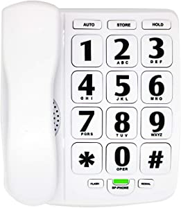 HePesTer P-02 Amplified Large Button Corded Phone for Senior (White)