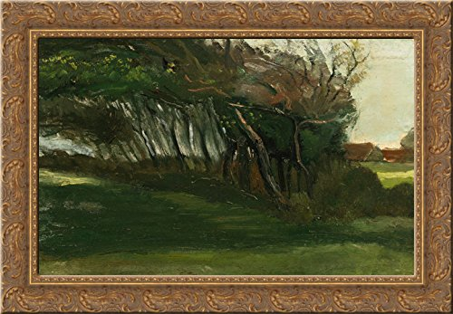 (Landscape with windswept trees 24x18 Gold Ornate Wood Framed Canvas Art by Vincent van Gogh)
