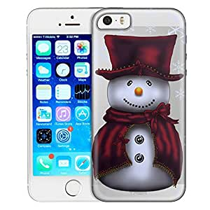Apple iPhone 5 Case, Slim Fit Snap On Cover by Trek Snowman in Red Clear Case