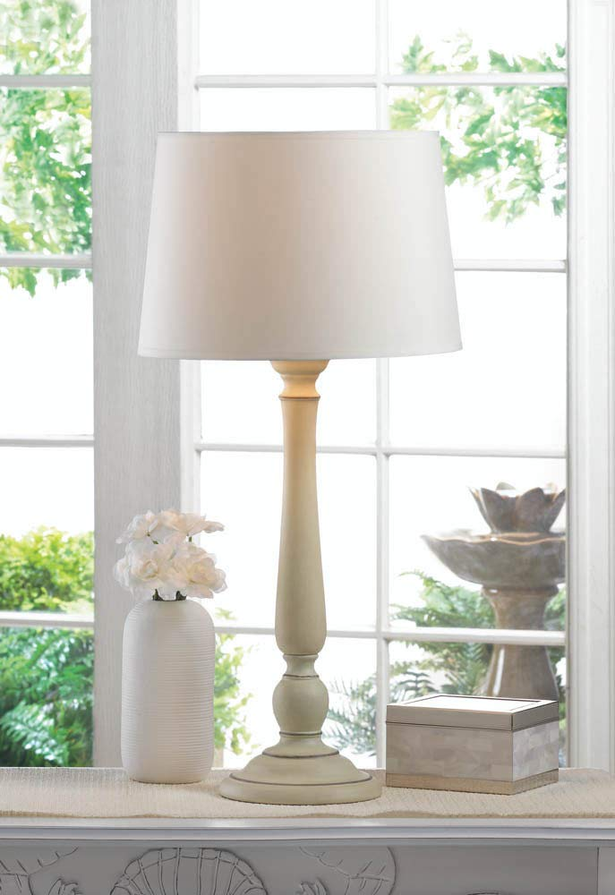 ROX Luxury House Dover Table Lamp Ivory Turned Ceramic Base Fabric Shade Electric Modern Any Room