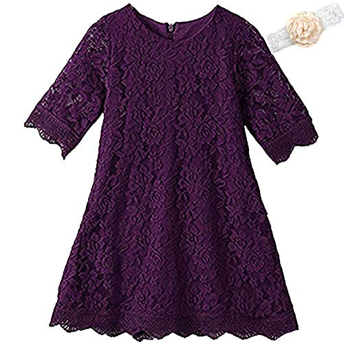 Flower Girl Dresses For Fall Wedding (Lace Flower Girl Dress Elegant Bridesmaid Dress Wedding Party Fall Holiday Pageant Girl Dress Formal Ball Gowns Long Sleeve Knee Length Christmas Easter Flower (Purple)