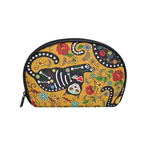 Cosmetic Bag Halloween Face Panda Cat Customized Shell Makeup Bags Organizer Portable Pouch for Women/Girls -